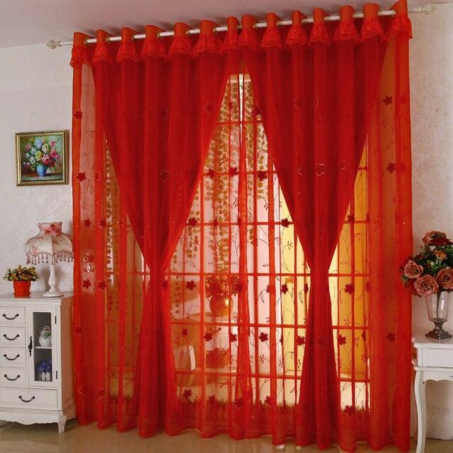 doble capa cortinas por encargo rojo cortinas bordado gasa saln boda alegre ecolgico tulle cortinas rideaux - Cortinas Rojas