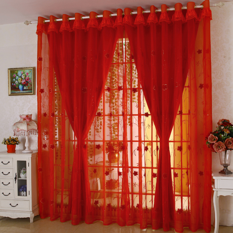 US $119.59 8% OFF|Double Layer Custom Made cortinas Red Curtains embroidery  gauze Living Room Joyous Wedding Eco Friendly Tulle Curtains Rideaux-in ...