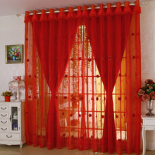 Double Layer Custom Made cortinas Red Curtains embroidery gauze Living Room Joyous Wedding Eco Friendly Tulle