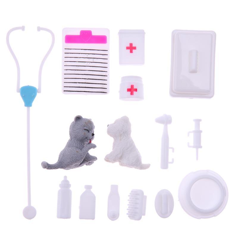 15pcs set Mini Plastic Puzzle Educational Toy Children Doctor Nurse Medical Pretend Role Play for Barbie
