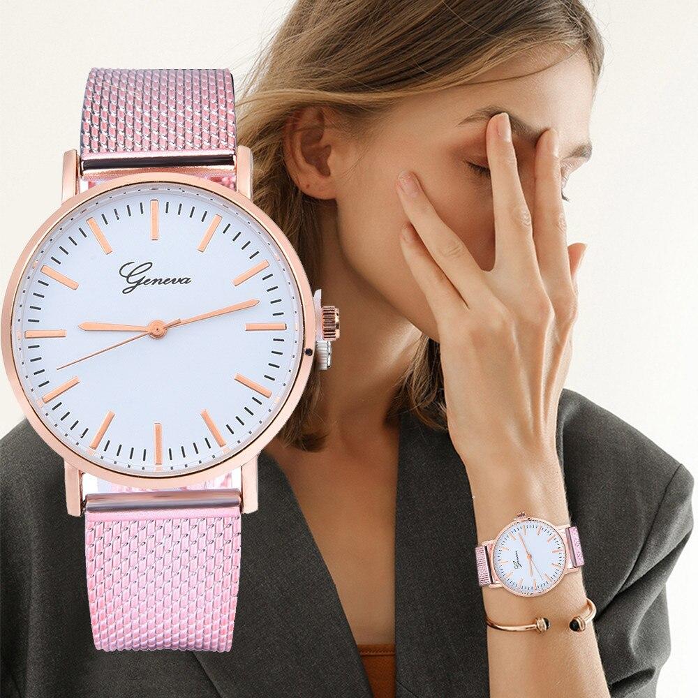 Quartz Watches Brand Geneva Luxury Watch Montre Femme Fashion Mesh Lady Watches Simple Clock Bracelet Dress Quartz Watch Reloj Mujer Dropship