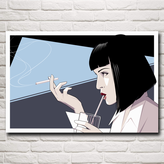 Pulp Fiction Mia Wallace Uma Thurman Movies Art Silk Poster Print Home Decor Pictures 12×18 16X24 20×30 24×36 Inch Free Shipping