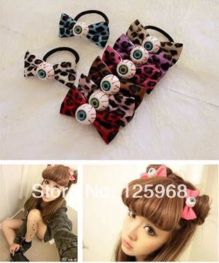 Free Shipping!20pcs/lot Halloween Evil Eye Leopard Bowknot Hair Accessary,women Hair Bands Elastic Ties Ponytail Holder