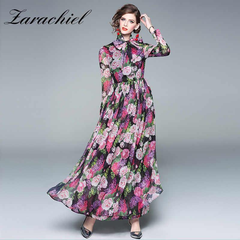 56ed6b432a 2019 Designer Spring Holiday Flower Dress Women's Long Sleeve Belted Bow  Vintage Floral Print Chiffon Elegant