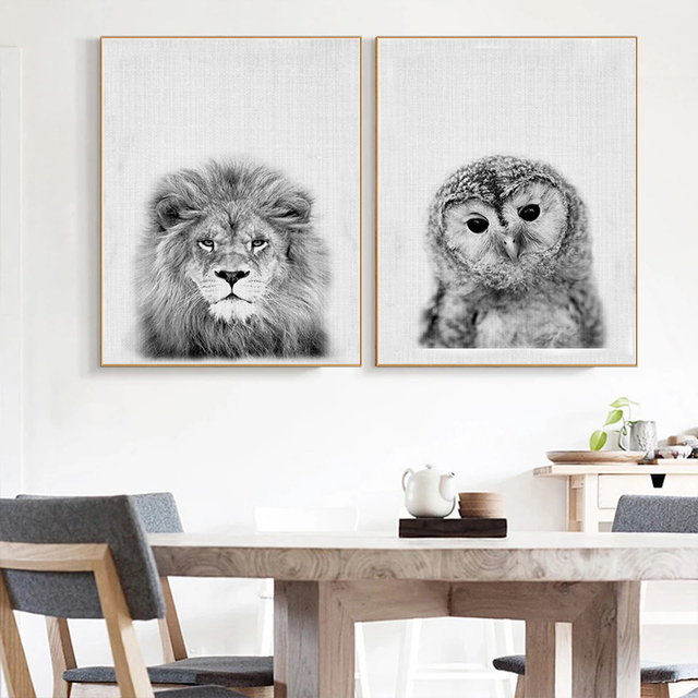 Funny Cute Animal Lion Black White Canvas Art Painting Posters And Prints Wall Children S Bedroom Home Decoration Nordic
