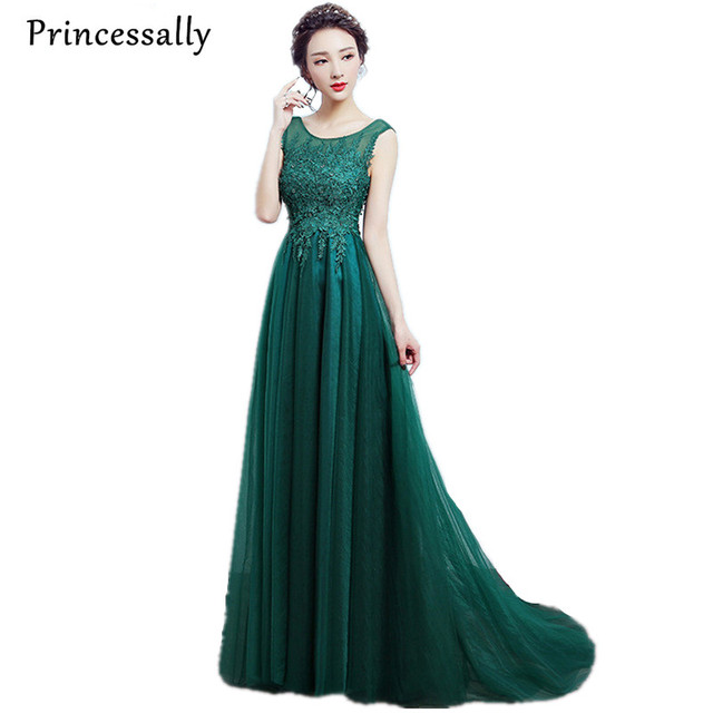 Princessally Green Lace Long Evening Dresses New Arrival Banquet ...