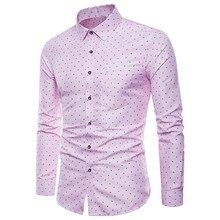 410c8895a قمصان الرجال أعلى عارضة قميص اللباس الوردي قمم زر رفض طوق الرجال ملابس  طويلة الأكمام قميص