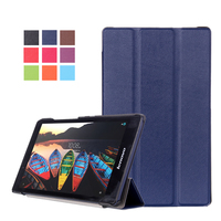 Ultra Slim Lightweight Custer 3 Folder Folio Stand PU Leather Magnetic Cover Case For Lenovo Tab3