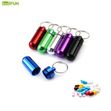 New High Quality Portable WaterProof Mini Blue Aluminum Keychain Tablet Storage Box Bottle Case Holder