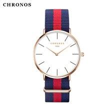 Chronos relogio masculino feminino кварцевые классический нейлон наручные спортивные повседневная бренд