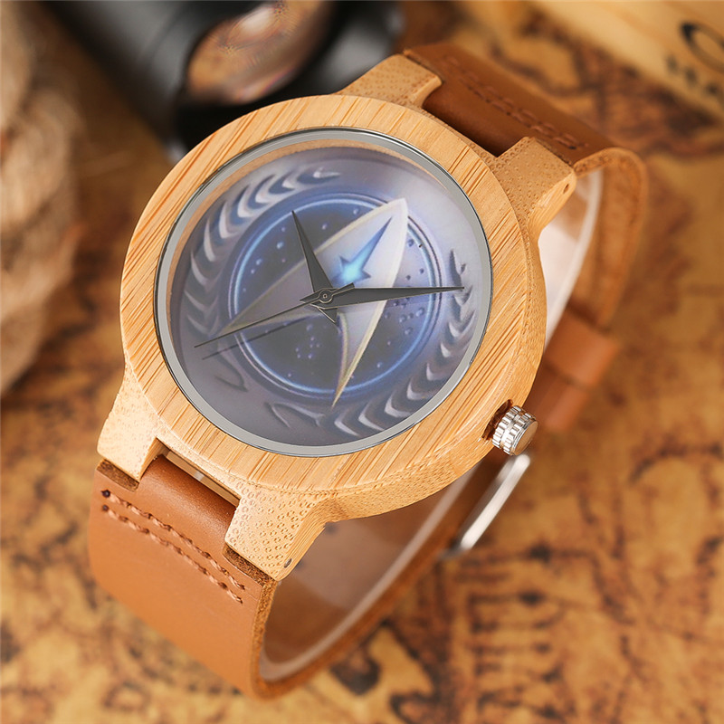 casual bamboo creative band men trek nature leather genuine watch quartz star dial handmade wooden new watches