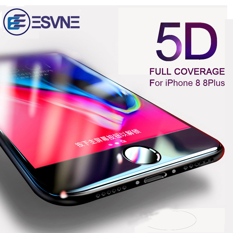 ESVNE 5D Curved Edge Tempered Glass For Iphone 8 Screen Protector IPhone 8 Plus Glass Full Cover Protective Film