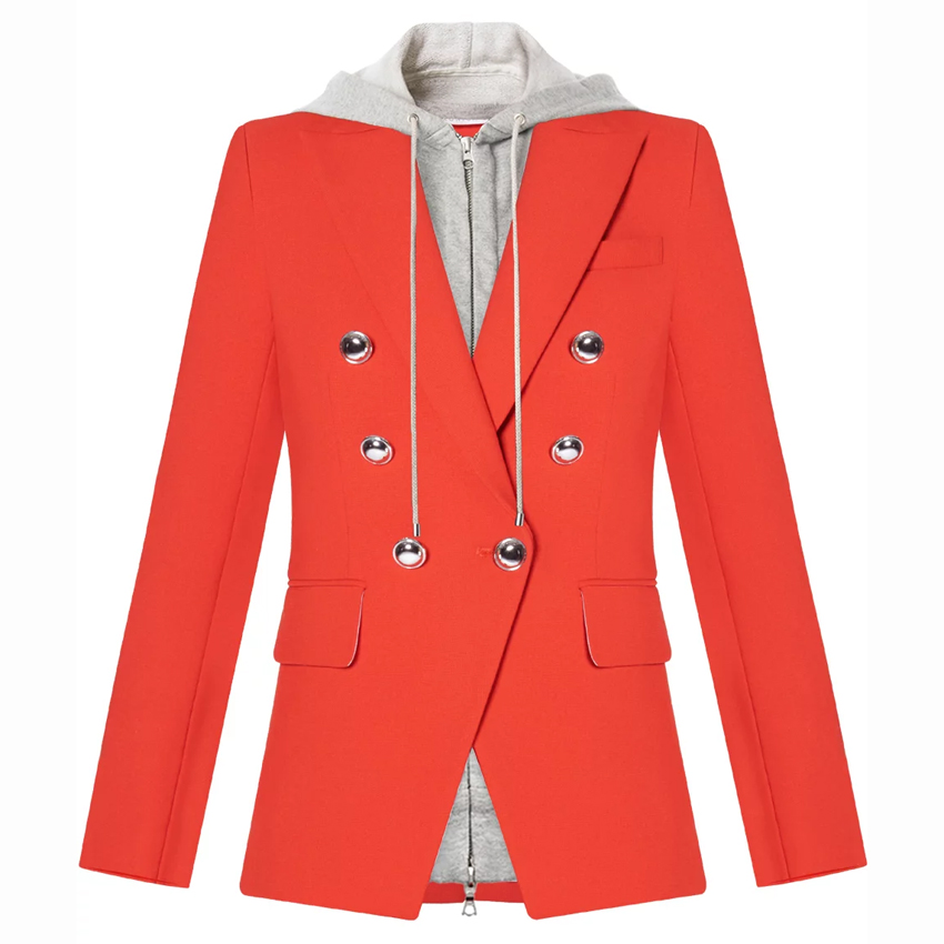 HIGH QUALITY Newest Fashion 2020 Designer Blazer Women's Removable Hooded Double Breasted Casual Blazer Jacket