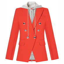HIGH QUALITY Newest Fashion 2020 Designer Blazer Women's Removable Hooded Double