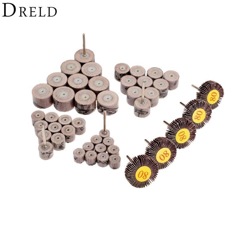 49Pcs Dremel Accessories Set Sanding Flap Wheels Polishing Grinding Sanding Wheels Grit 80# 240# for Dremel Rotary Tools