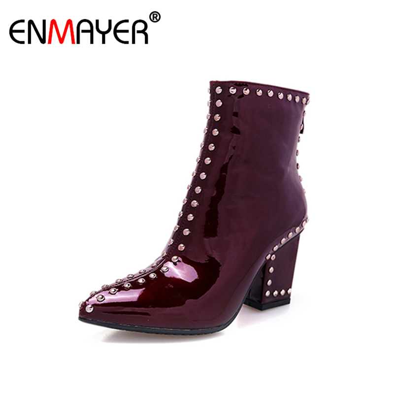 ФОТО ENMAYER Zippers High Heels Pointed Toe Rivets Shoes Woman Platform Shoes Large Size 34-41 Ankle Boots for Women Winter Boots