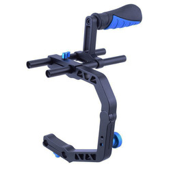 Video DSLR Camera Handle C Shape Bracket Arm Support+Handle Grip+2pcs Rods /Can Installed Mic Monitor/ Shoulder Rig Accessories