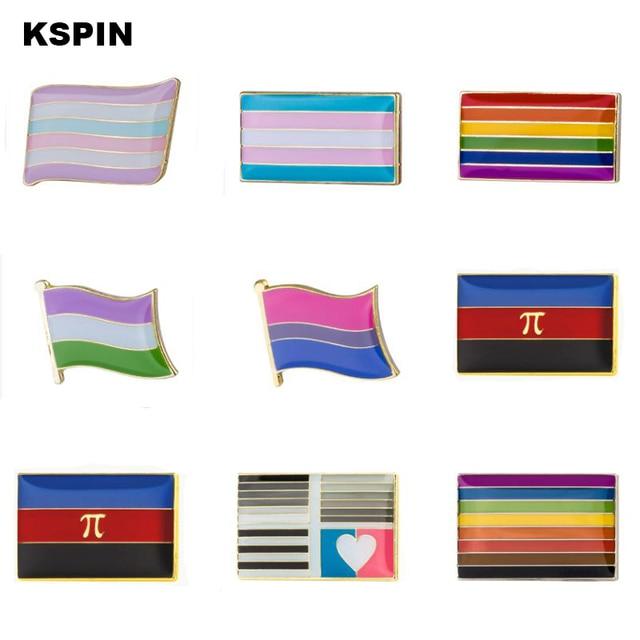 ЛГБТ Прайд 6 цветов Радужный Флаг для визиток значок кнопки гей лесби символ Pin-код