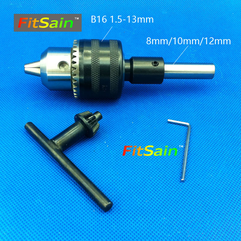 FitSain--B16 1.5-13mm mini drill chuck shaft diameter 8mm, 10mm,12mm Connect Rod Power Tools Accessories drill press 3 pcs lot 1 5 to 13mm capacity heavy key type drill chuck adapter for rotary hammer makita power tools accessories 1 power tools