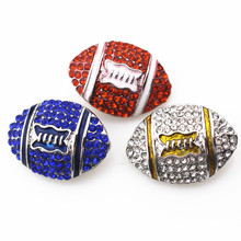 Mixed 30pcs/lot metal rugy football with crystal ginger snap buttons for 18mm snap bracelet necklace diy jewelry