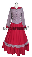 Civil War cosplay costume Victorian Tartan Evening Gown Red Dress H008