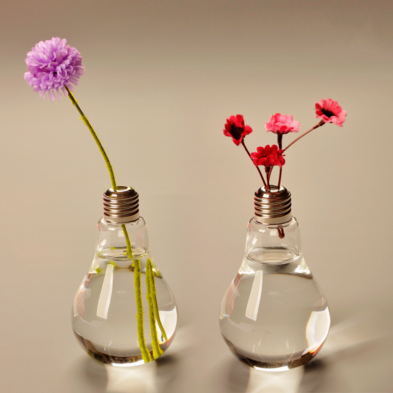 Creative Home Decor Light Bulb Vase Transparent Glass Vase Desktop