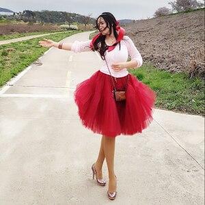 Image 4 - Petticoat 5 kat 60cm Tutu tül etek Vintage Midi pilili etekler bayan Lolita nedime düğün faldas Mujer saias jupe
