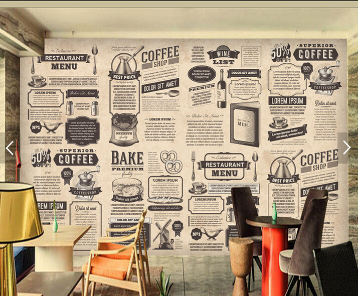 Custom retro wallpaper hand drawn food icon newspaper for living room restaurant coffee shop background wall vinyl wallpaper in wallpapers from home