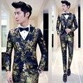 Skinny Pantalones de Traje Para Los Hombres 2016 Nuevo 3 unids Diseñador Partido Prom Traje de Boda del novio Azul de Flores de Oro Rojo Trajes De Hombres De Vestir