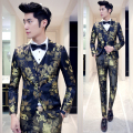 Skinny Suit Pants For Men 2016 New 3pcs Designer Party Prom Groom Wedding Suit Blue Red Gold Flower Trajes De Hombres De Vestir