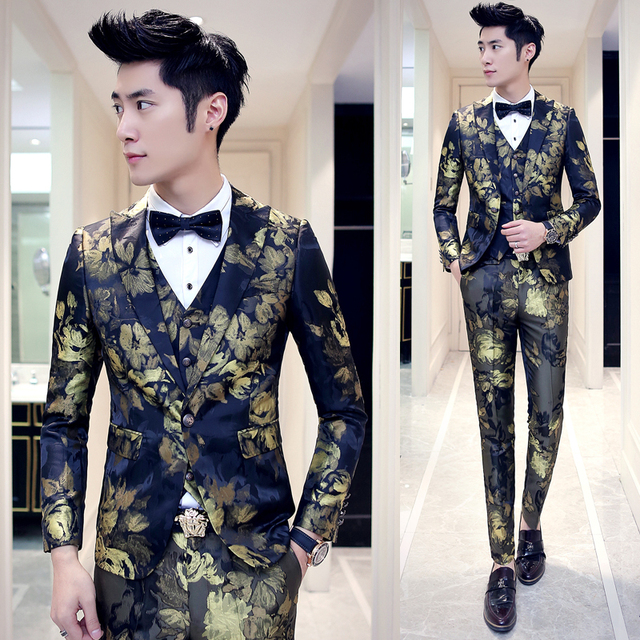 Skinny Suit Pants For Men 2016 New 3pcs Designer Party Prom Groom Wedding Suit  Blue Red d8bd6437d7c5