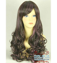 Wholesale heat resistant LY free shipping Beautiful Harajuku Style Fashion Streaked Wig Hair New Long Wavy