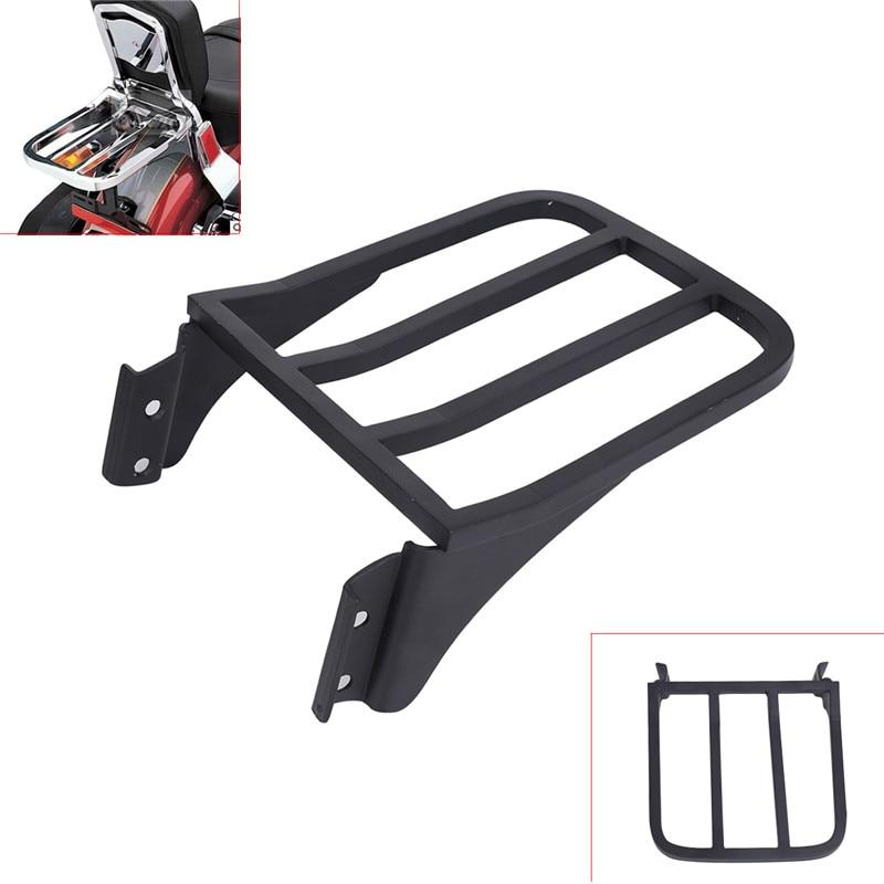 Black Rear Plated Luggage Rack Support Shelf Solo Seat For Harley Softail Backrest Sport SISSY BAR FLSTF FLST FLSTC FLSTSC C/5