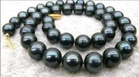 9 10mm Black AAA Tahitian Cultured Pearl Necklace 18