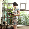 2016 New Summer Linen Chinese Traditional Dress Short Sleeve Stand Neckline Qipao Dress Vestido Evening Dresses  M L XL XXL XXXL