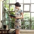 2016 nova verão linho Vestido tradicional chinês de manga curta decote Qipao Vestido Vestido de noite vestidos ml XL XXL XXXL