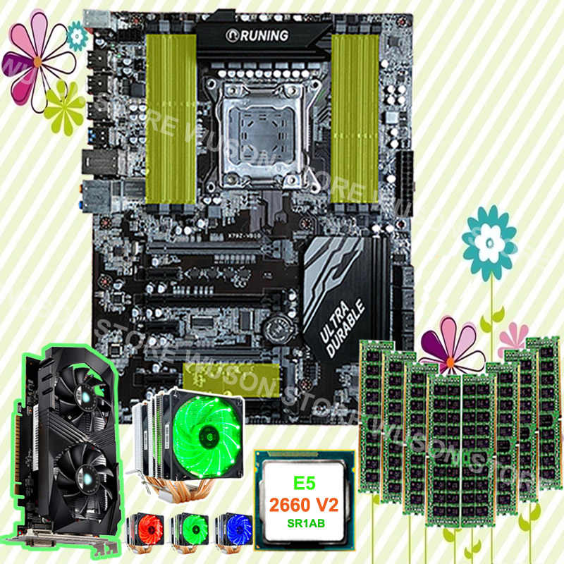 Hot gaming PC motherboard bundle X79 motherboard CPU Xeon 2660 V2 2.2GHz with cooler GTX1050TI 4G video card RAM 8*8G 1600 RECC