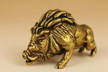 Rare Fierce Old brass Hand Carved Wild Boar Sus Scrofa Pig Statue /Figurines