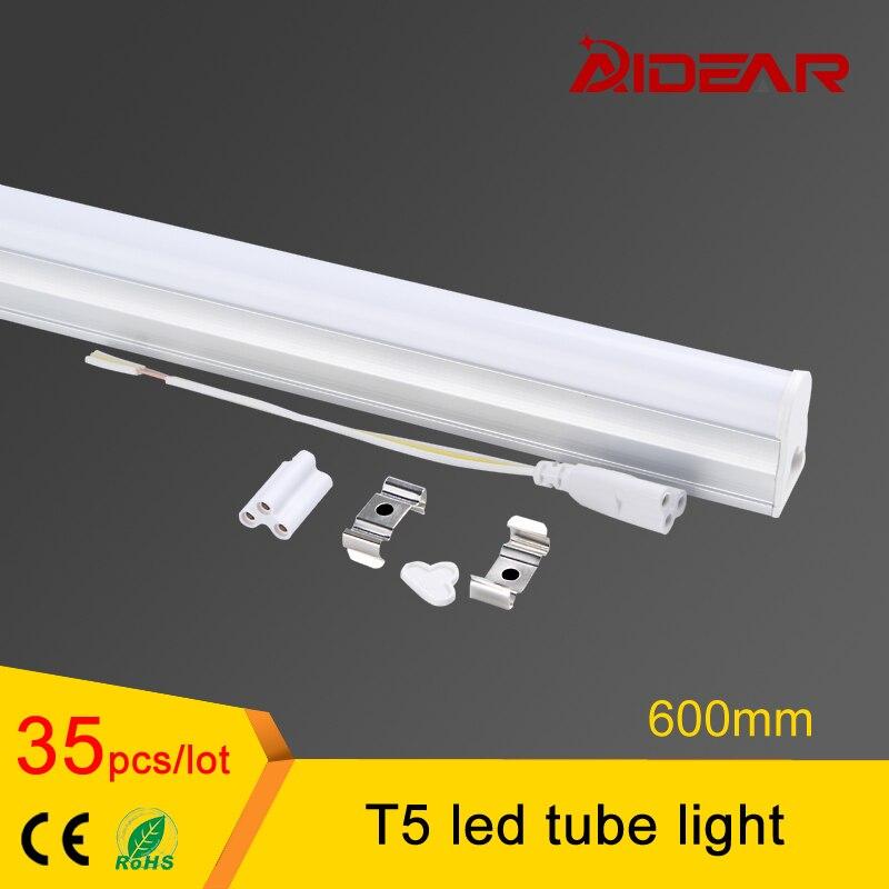 Продвижение t5 светильники 600 мм AC85-265V светодиодные люминесцентные лампы светодиодные t5 трубки Лампы для мотоциклов 10 Вт холодный белый свет ...