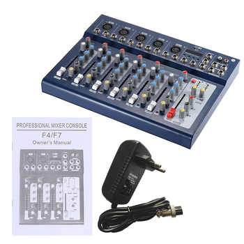 ammoon F7-USB 7-Channel Mic Line Audio Sound Mixer Mixing Console with USB Input 48V Phantom Power 3 Bands Equalizer for Karaoke