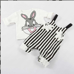 Baby Girl Boy Clothes Two-piece Palm Bib + Cute T-shirt Spring And Autumn Suit Cute Palm Rabbit Long-sleeved Overalls