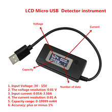 Black Digital Micro USB LCD USB Mini Current and Voltage Detector Mobile Power USB Charger Tester Meter