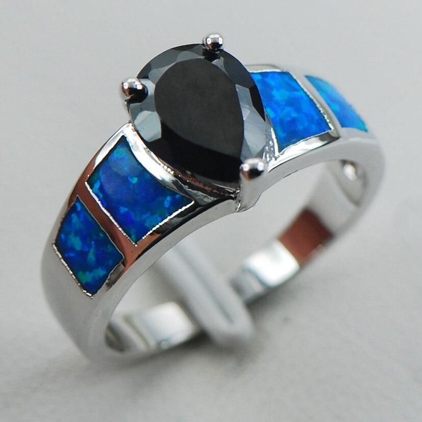 5c3a2e880dce1 ⑦Negro Onyx azul OPAL 925 anillo de plata tamaño 6 7 8 9 10 R1275 ...