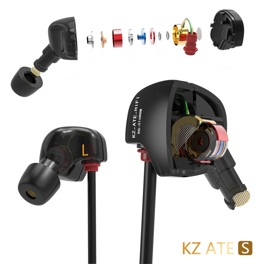 KZ-ATES Copper Conductor Ear Hook HIFI Earphone Sport Headphones with Foam Tips For Iphone PC Smartphone Mp3 kz headset storage box suitable for original headphones as gift to the customer