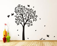 Free Shipping Personalized Birch Tree Birds Vinyl Decal Wall Sticker Art Mural Room Decor Wall Paper