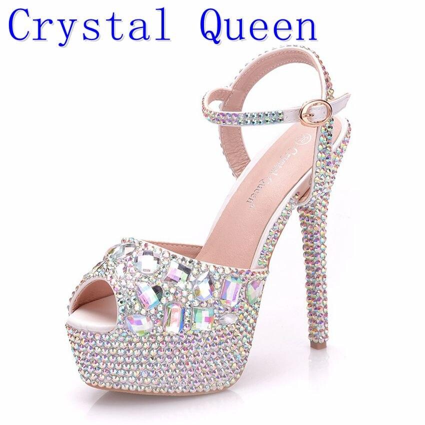 Rainha de cristal Diamante Mulheres Peep Sapatos de Casamento Bombas de Super Salto Alto 14 cm Plataforma 4 CM Pulseira de Cristal Colorido Fino saltos