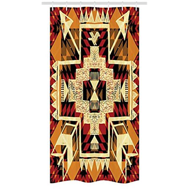 Vixm Arrow Stall Shower Curtain Native American Inspired Retro Aztec Pattern Mod Graphic Design Boho Chic