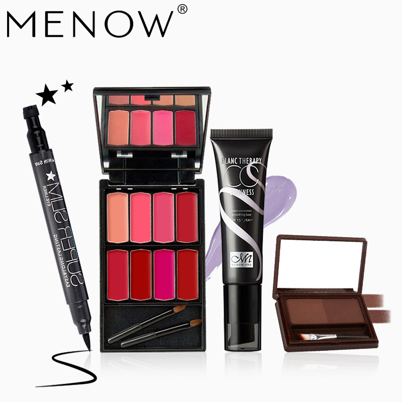 MENOW Brand Makeup set Professional Cosmetics Kit Stare Eyeliner & 8Colors lipsticks &BB Cream Foundation& Eyebrow