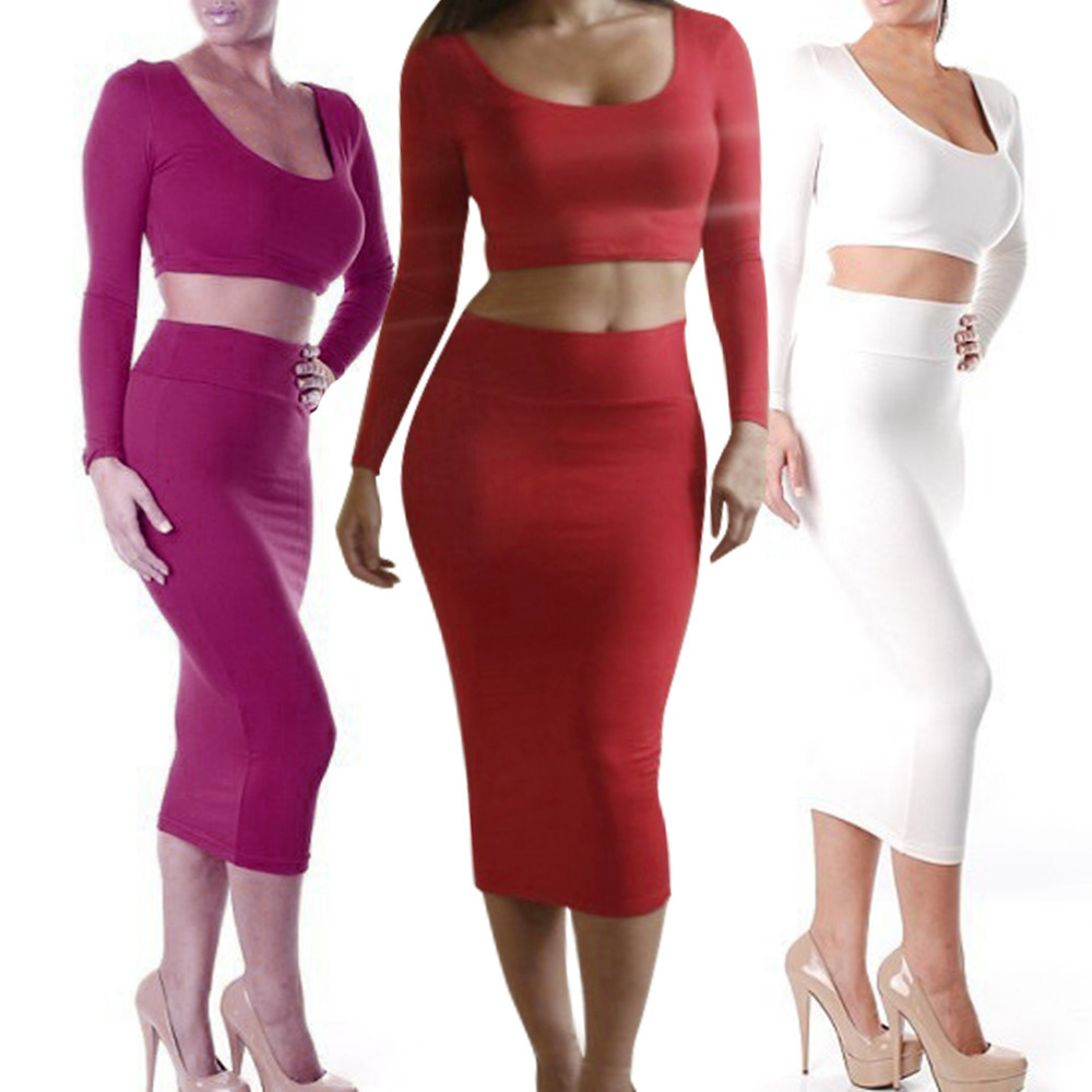 2014Women's Fashion High Waist Long Bodycon Pencil Skirt + Sexy ...