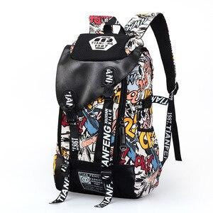 Image 2 - Graffiti Zaino Del Computer Portatile Uomini della Tela di canapa Sacchetto di Scuola Adolescente Ragazzi Grande Del Fumetto Lettere di Stampa Zaini Borse Da Viaggio mochila XA1788C